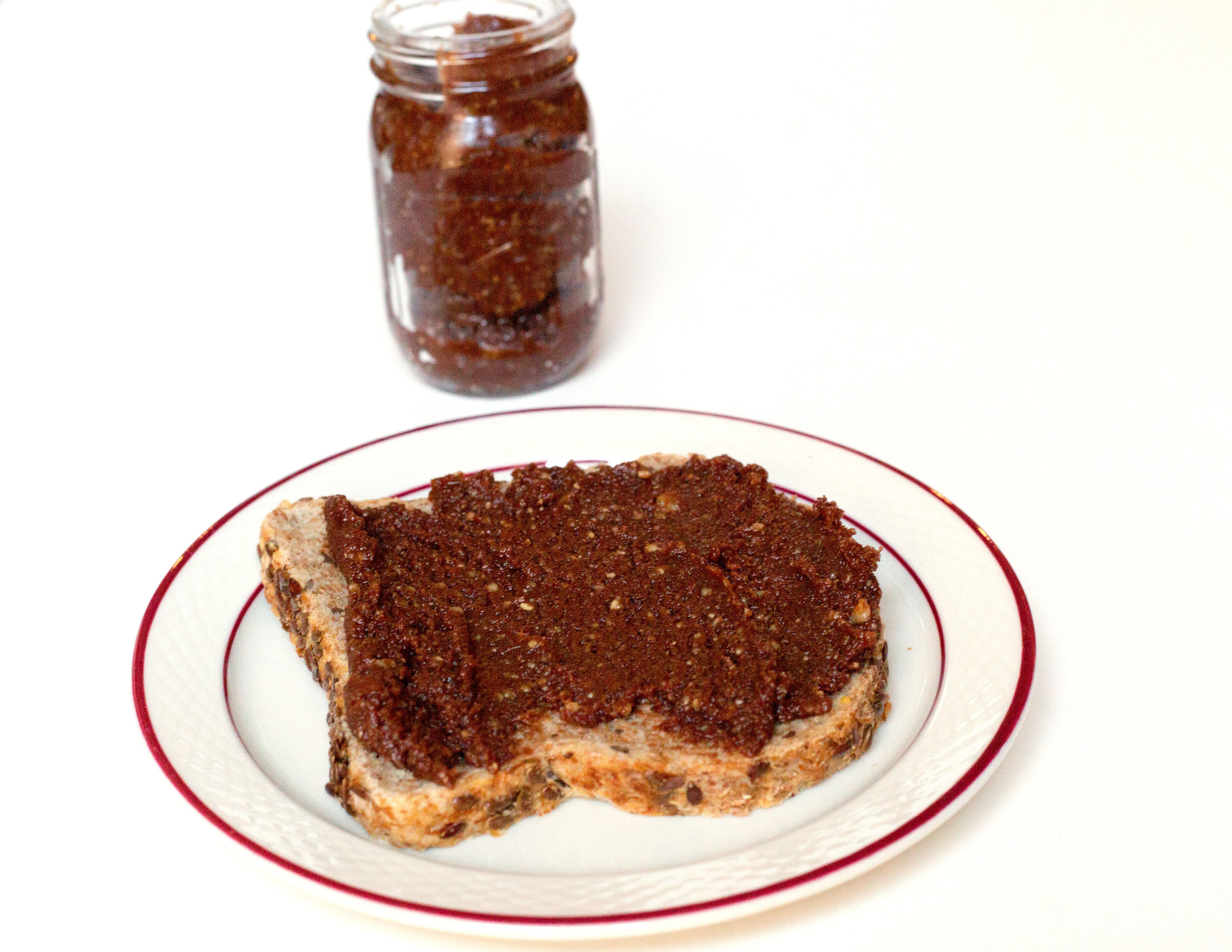 chocolate walnut butter on whole grain toast