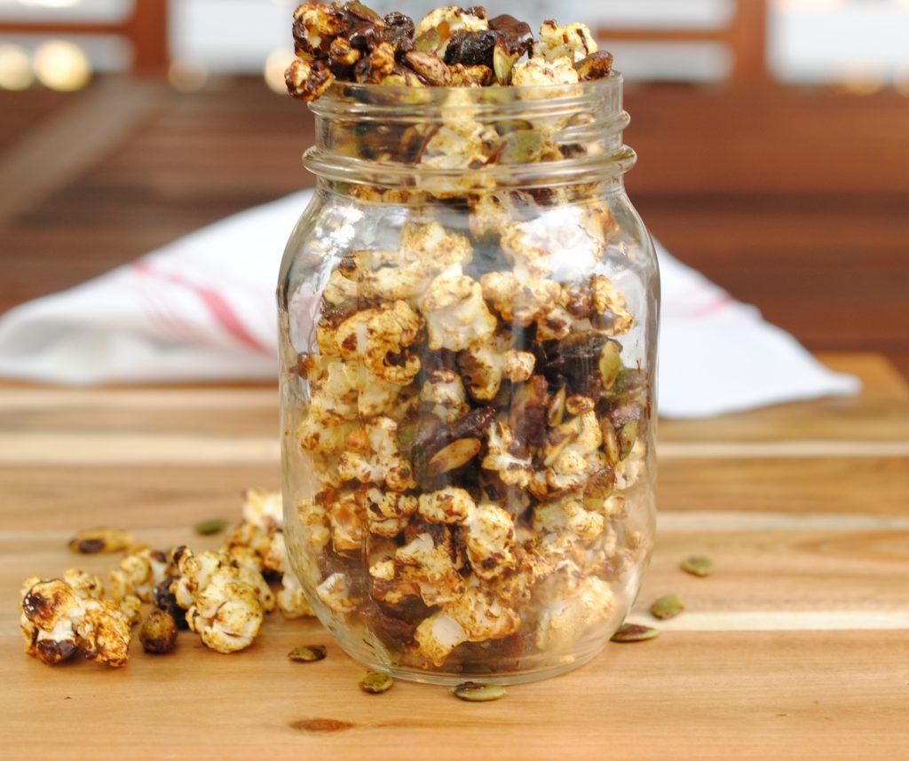 Chia turmeric popcorn trail mix