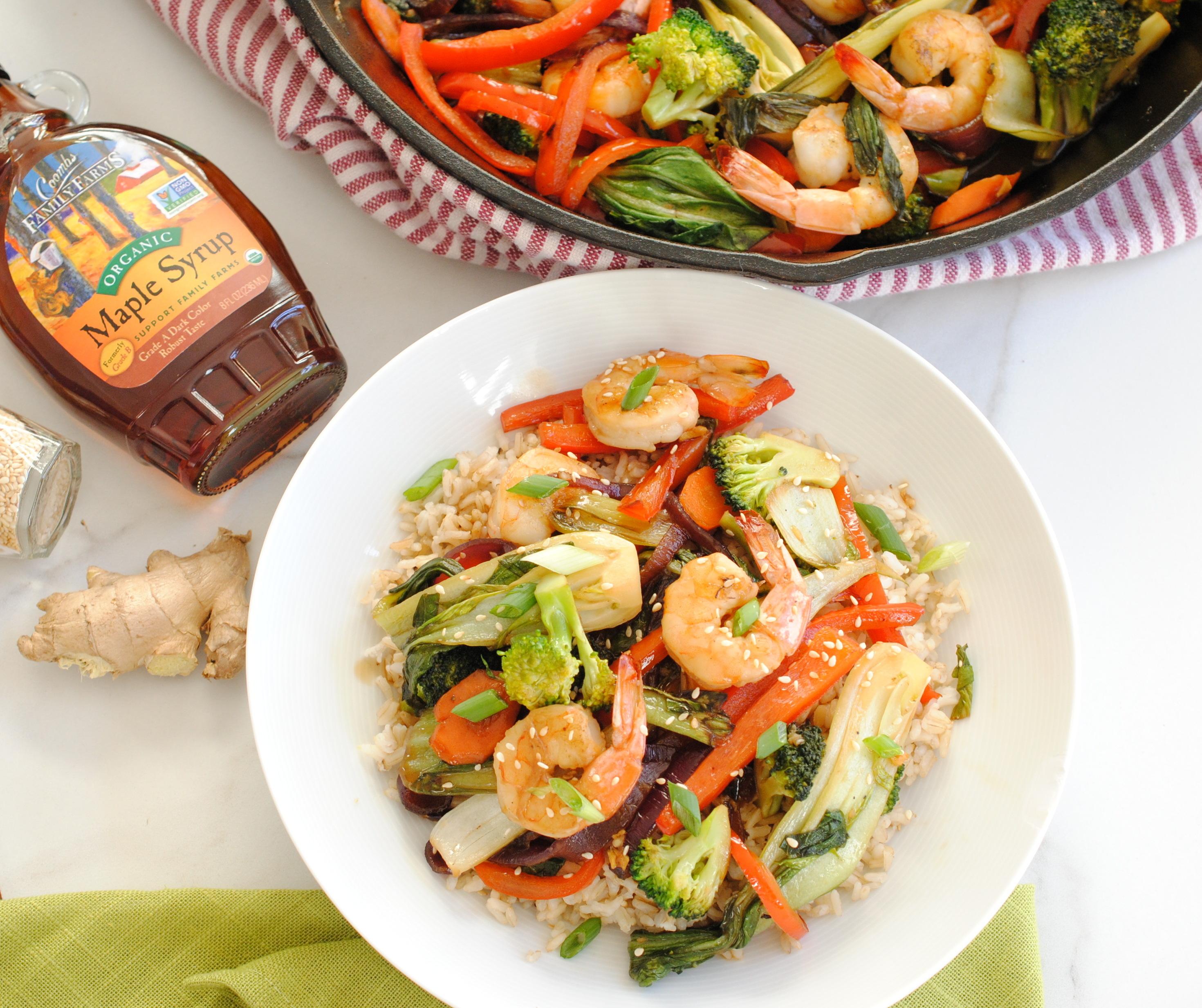 Maple teriyaki shrimp stir-fry