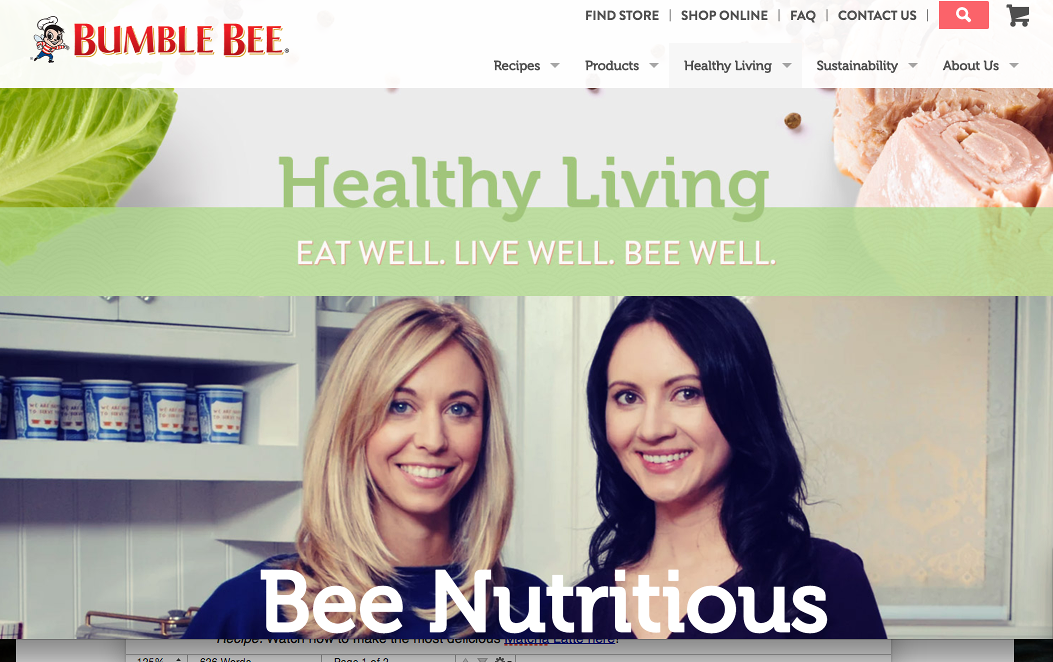 Bumble Bee healthy living page