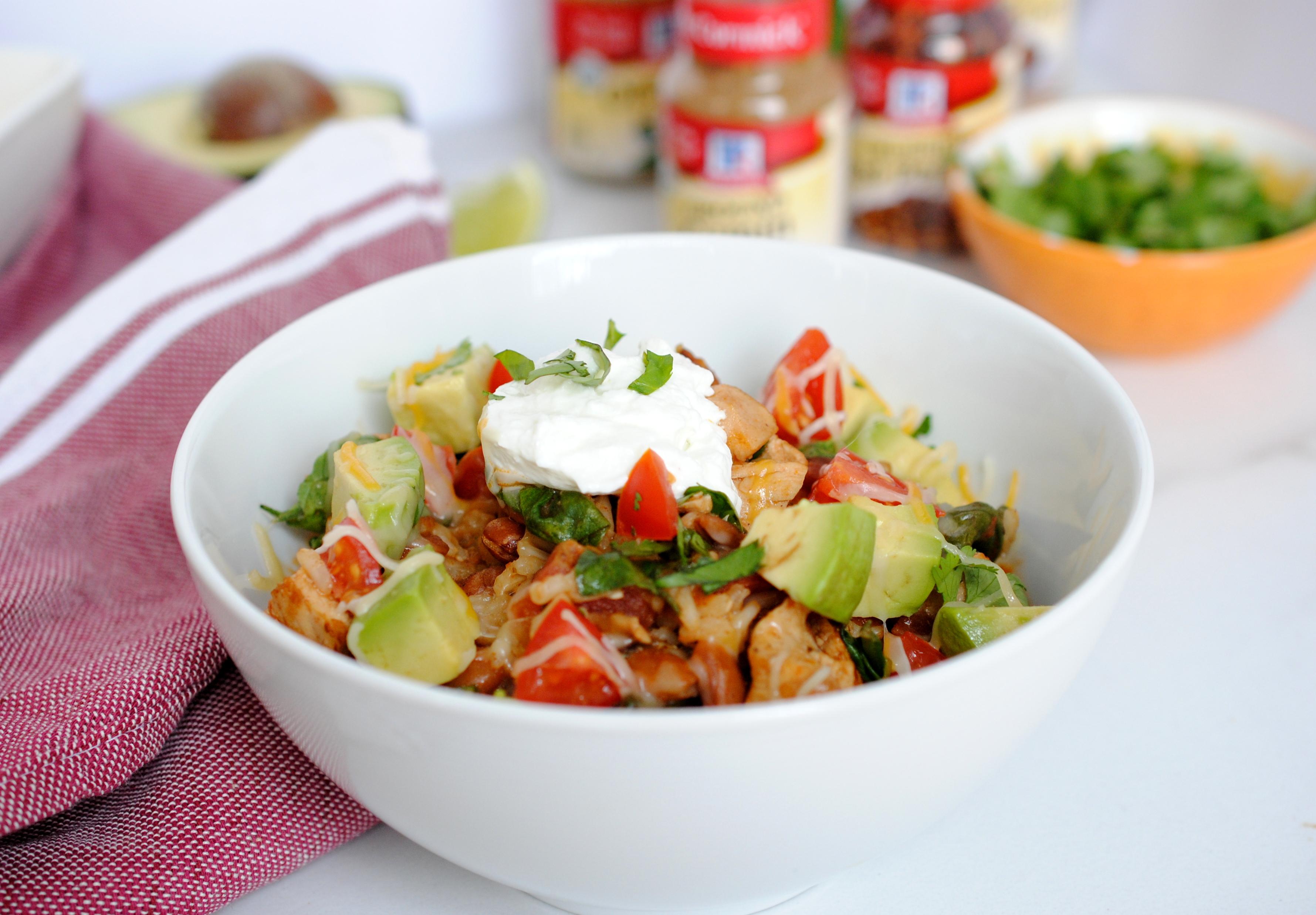 One-Skillet Chicken & Veggie Burrito Bowl