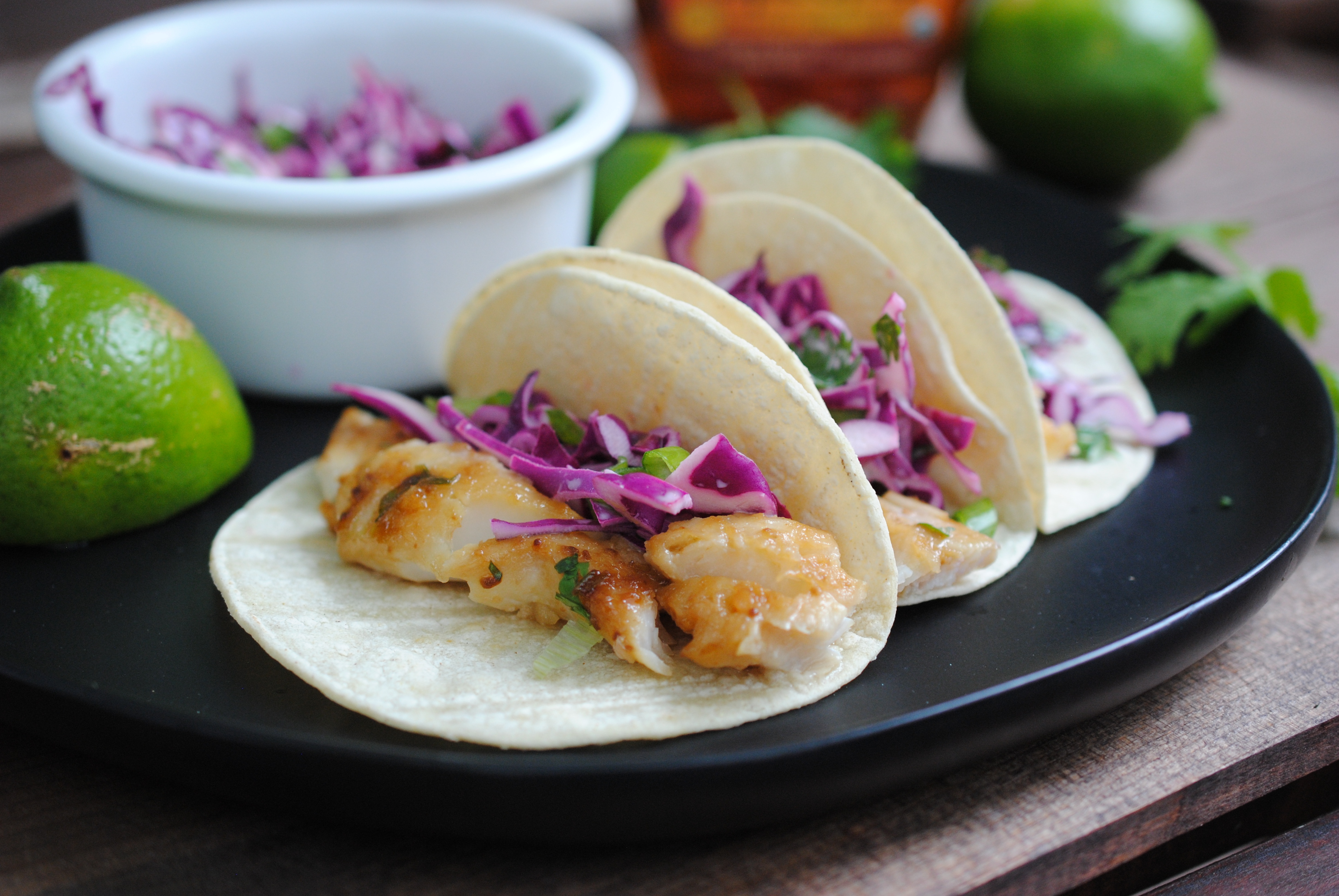 miso cod tacos close-up