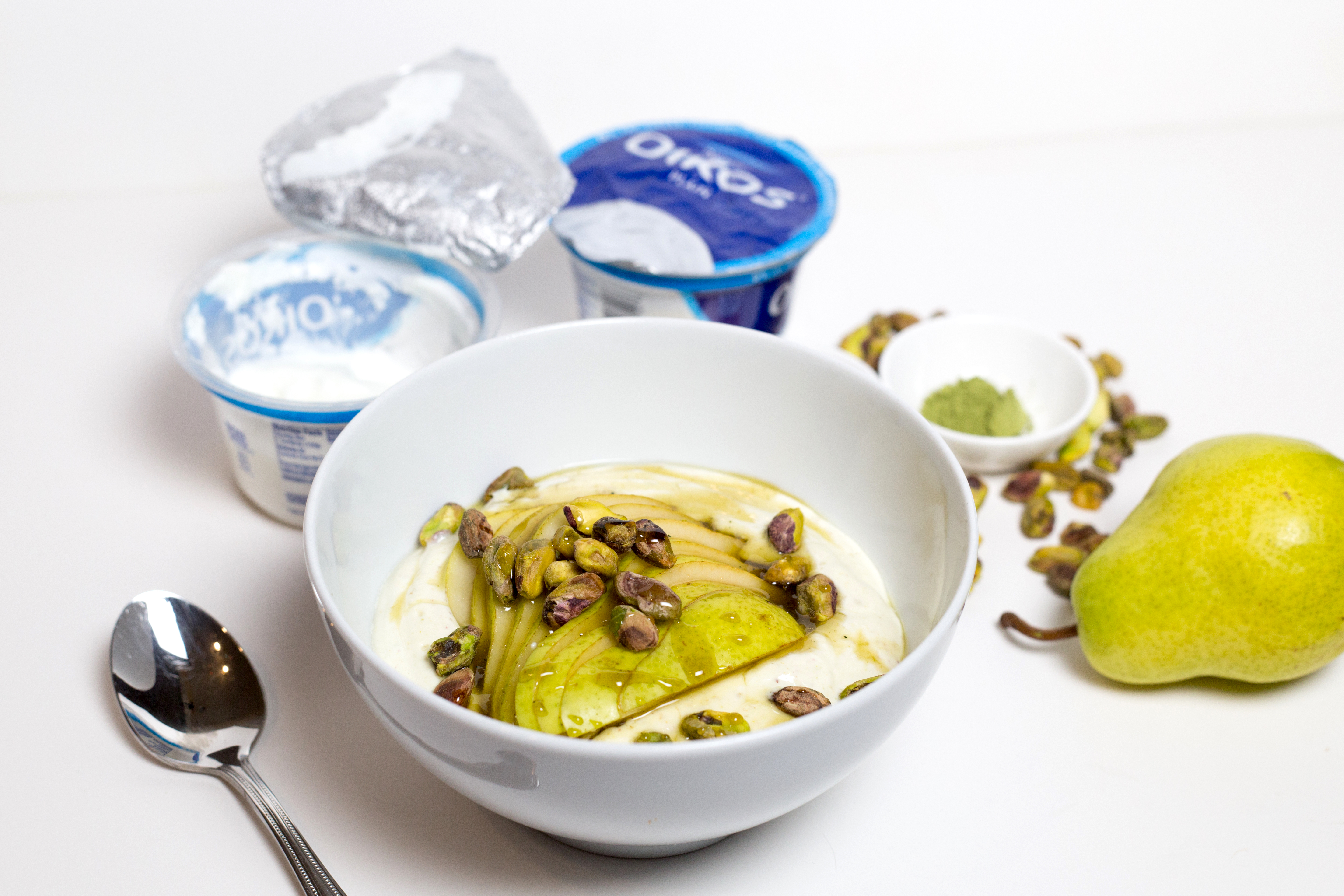 pear pistachio yogurt bowl